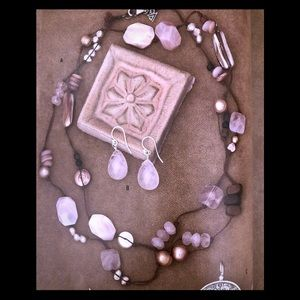Silpada Rose Quartz Pink Freshwater Pearl Necklace